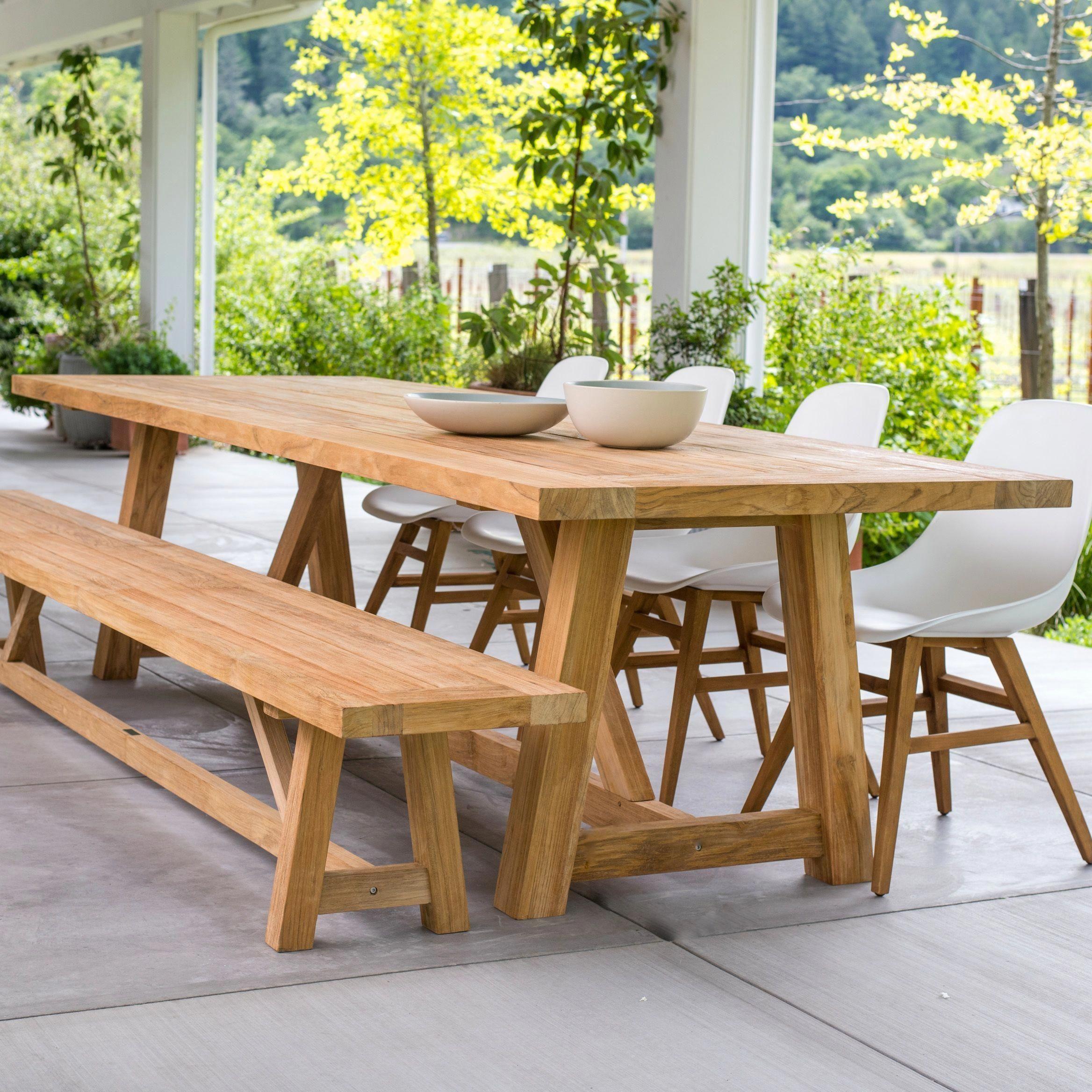 Vintage Beam Table In Teak Terra Outdoor Living Teak Patio Furniture Teak Outdoor Furniture Outdoor Wood Furniture