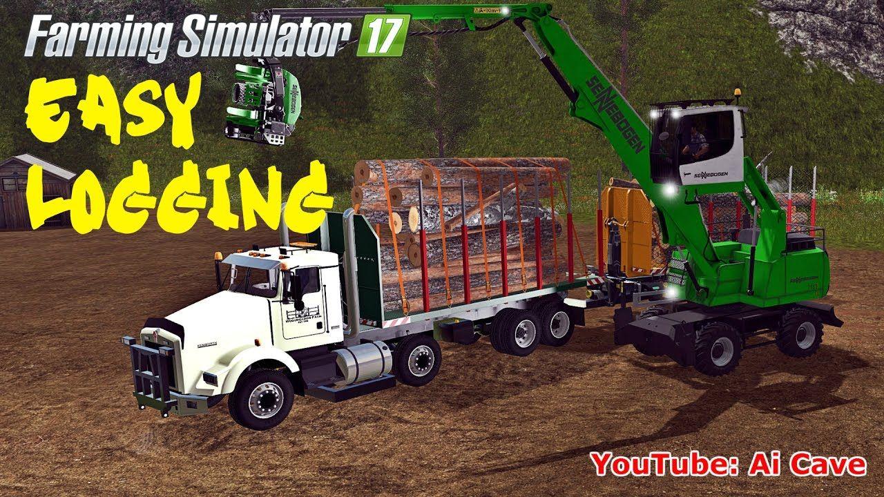 Farming simulator 17 easy logging mods sennebogen 718 kenworth t800 t