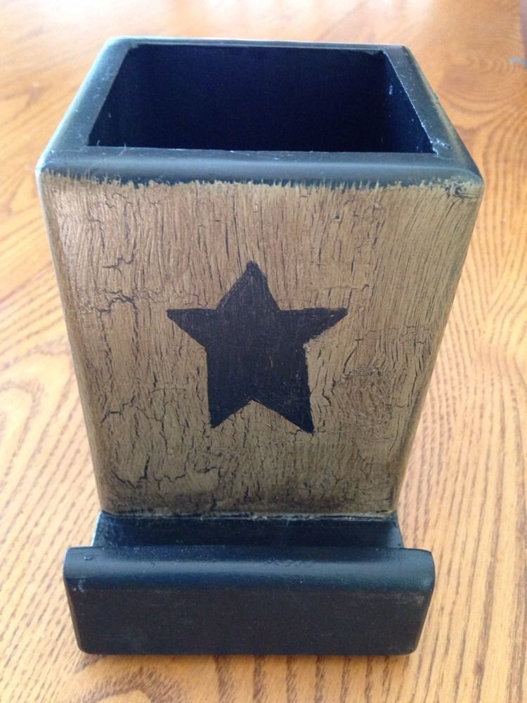 Country rustic star painted wooden pen box pencil holder