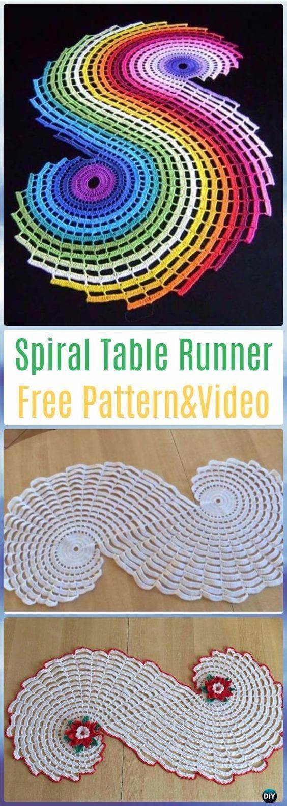 Crochet Spiral Table Runner Free Pattern Video- Crochet Table Runner ...