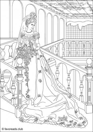 Wedding Dress printable adult coloring page coloring pages