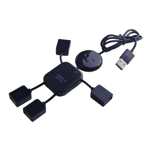 Flexi-Doll Shaped Compact USB 4-Port Hub (Black) $3.40
