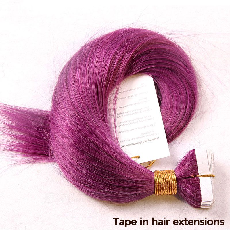 10 30 Inch Tape In Remy Human Hair Extensions Purple Straight 20