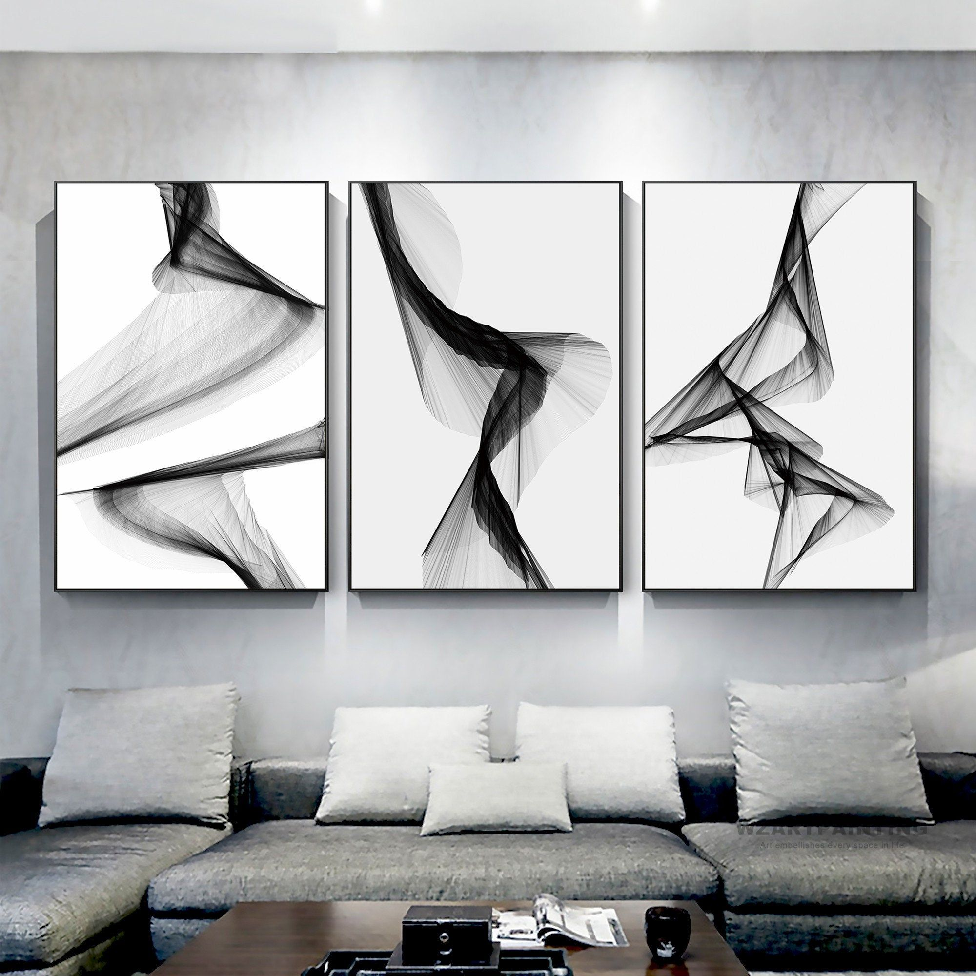 Abstract Original Acrylic Painting Black White Blue Geometric Bold Monochrome Art Wall Hanging for Gallery Wall Collection