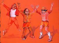 "Jumping Jacks (Training Camp) 22""x30"" acrylic on canvas 7/23/13"
