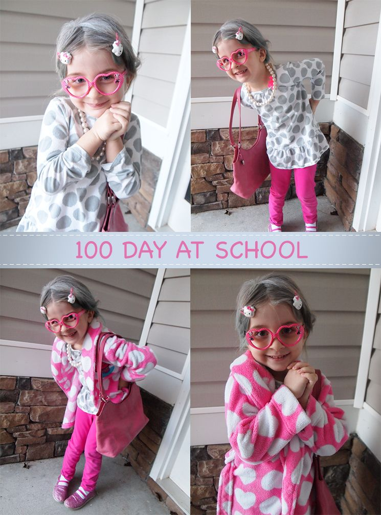 100 day at school. Dressing as 100 years old. White hair