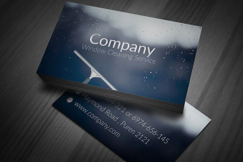 Stylish Window Cleaning Business Cards Design Available For Free - Business card templates psd free download