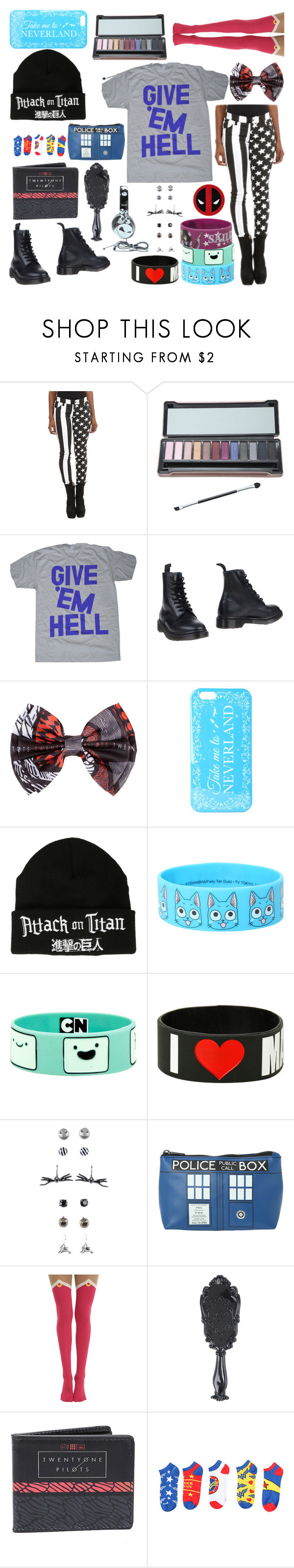 """""""MLG peppa pig"""" by frerardforever ❤ liked on Polyvore featuring Tripp, Dr. Martens, Disney and Marvel Comics"""