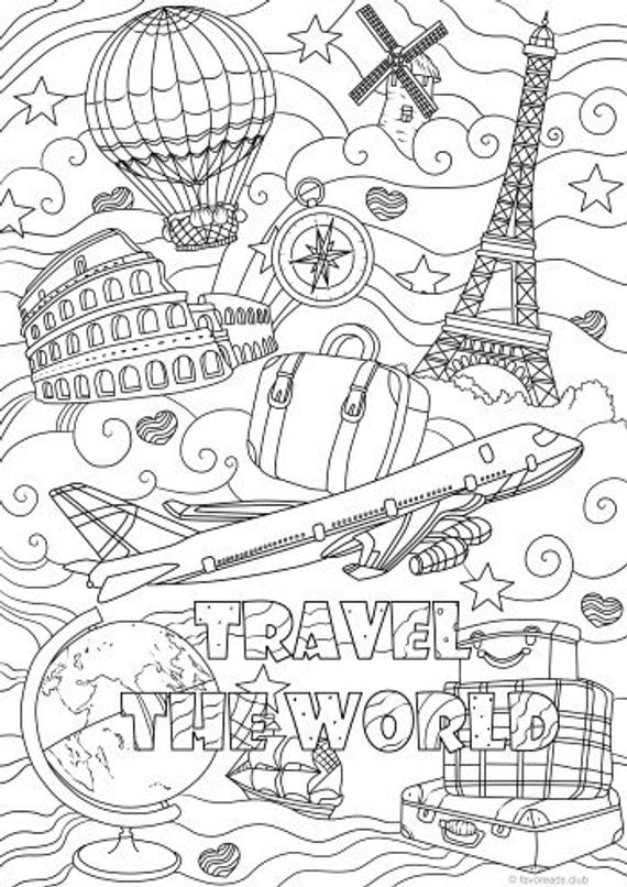 Traveling Printable Adult Coloring Page From Favoreads Coloring