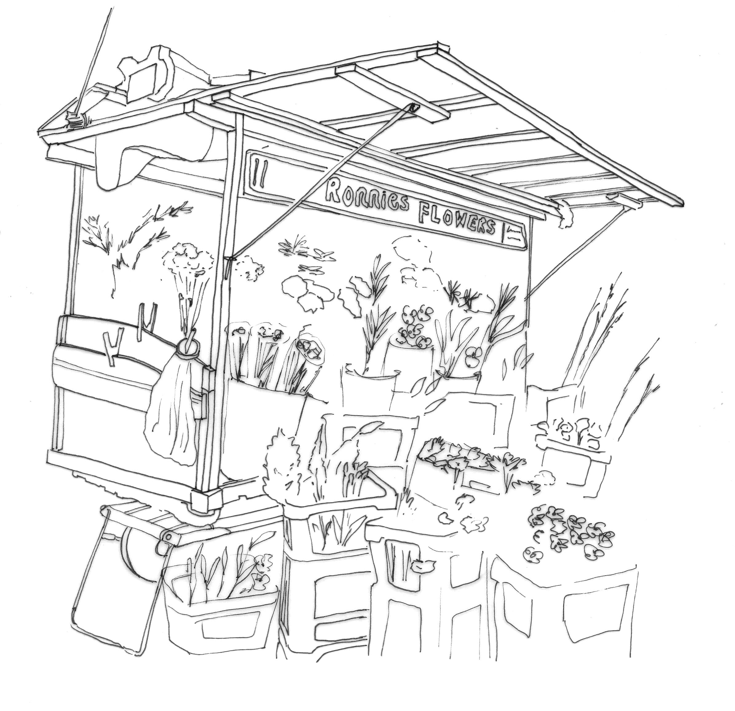 Market Stall Drawing