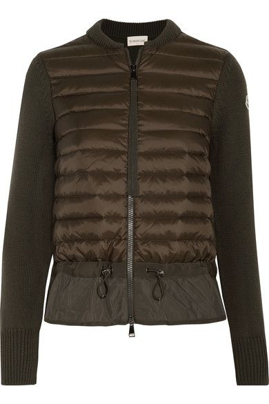 e560ece34 MONCLER MONCLER - QUILTED SHELL AND RIBBED-KNIT CARDIGAN - DARK ...