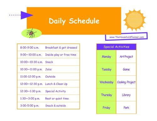 Kids home summer schedule keeping the kids in order for Weekly schedule template for kids