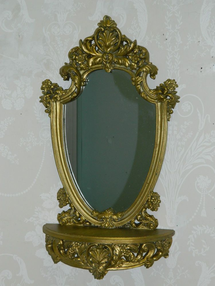 Gold ornate mirror with shelf vintage chic hallway home wall mirror