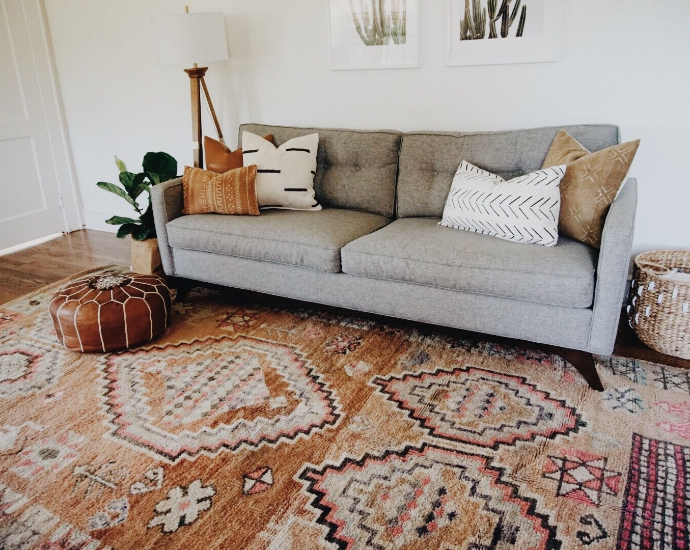 Brilliant Gray Midcentury Modern Couch With Vintage Moroccan Area Rug Onthecornerstone Fun Painted Chair Ideas Images Onthecornerstoneorg