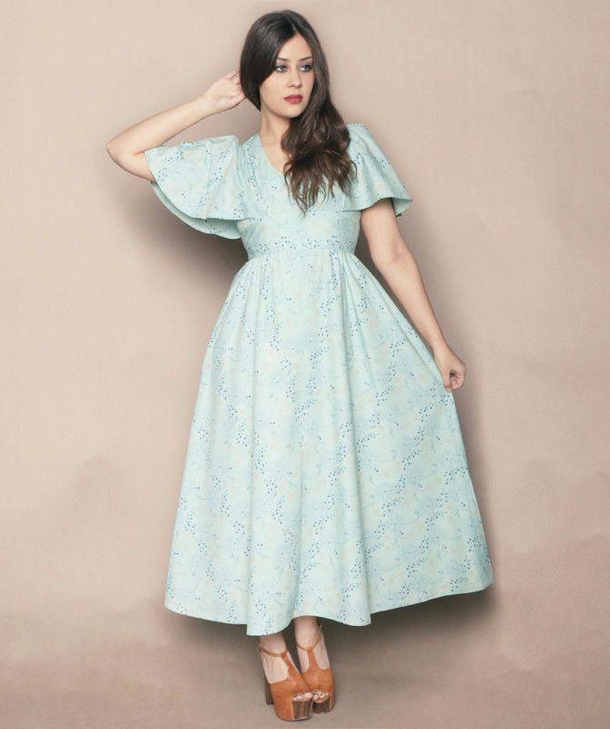 ebec5a922a Flutter Sleeve Dress 70s Maxi Aqua Green Empire Waist