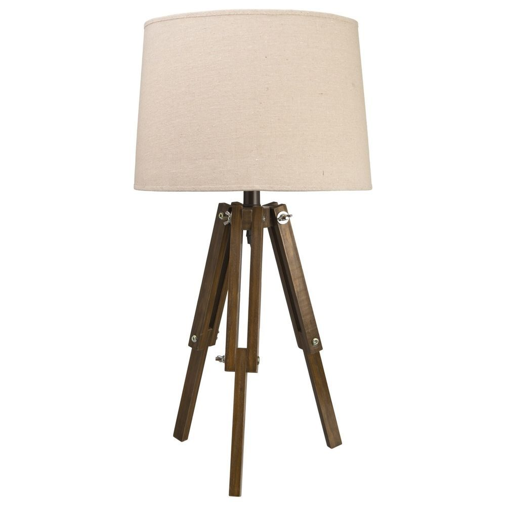 Colonial Vintage Style Tripod Table Lamp Natural Light Shade Dark Wood Legs New Tripod Table
