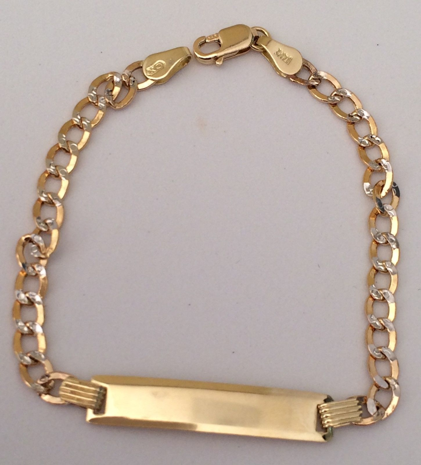 K yellow white gold inch cuban chain child kid baby two tone