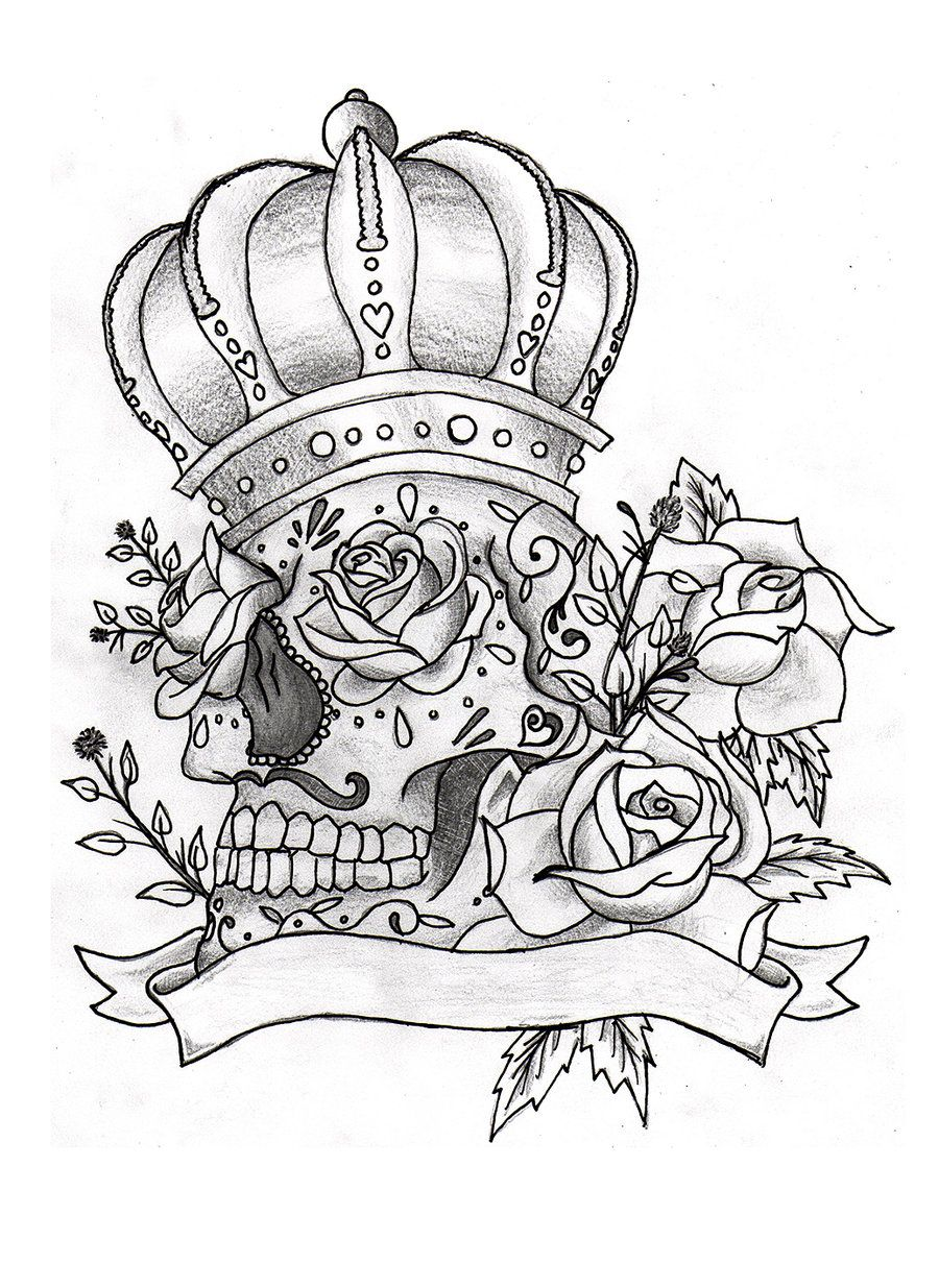 Pin By Olga Jimenez On Ink Skull Coloring Pages Sugar Skull Tattoos Tattoo Coloring Book