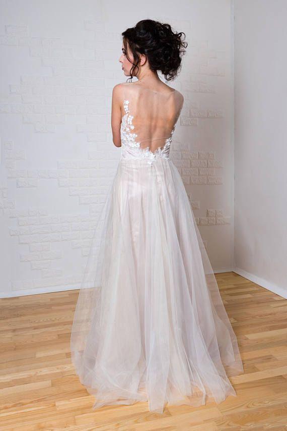 Boho Vintage inspirierte Brautkleid mit Spitzekorsett offenes ...