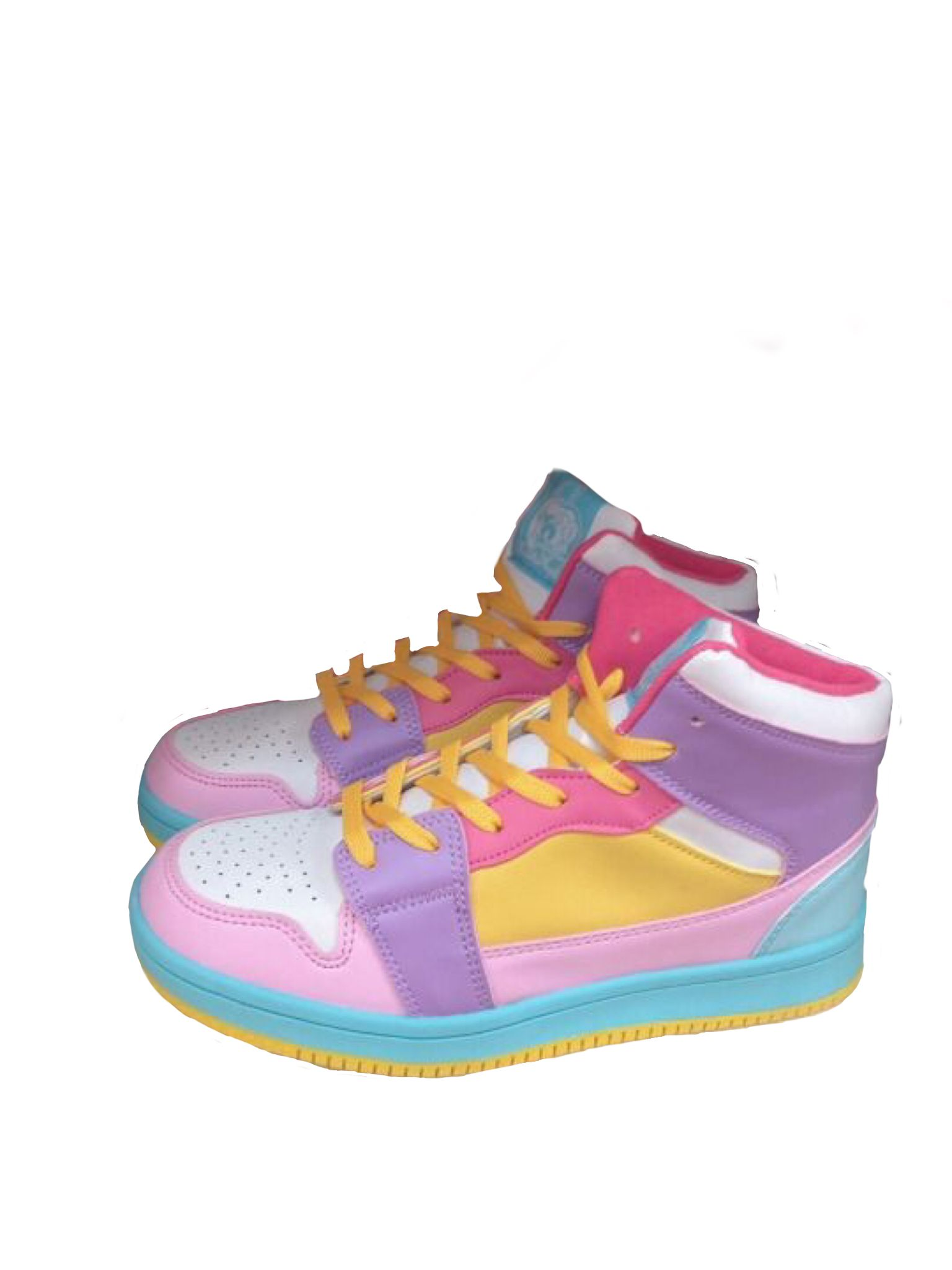 Purple pink yellow sneakers polyvore