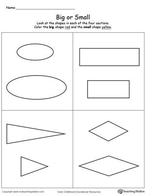 Comparing Shapes Big and Small | Printable maths ...