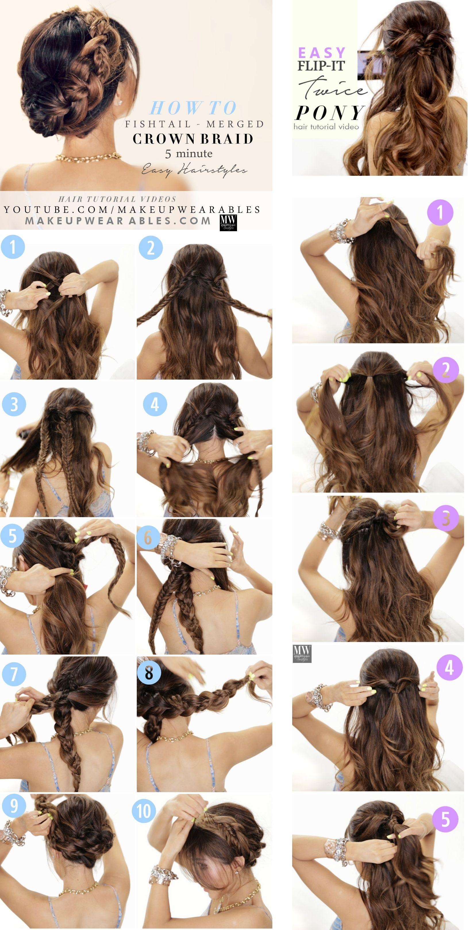 Easy hairstyles steps braided updo halfup halfdown hair style t