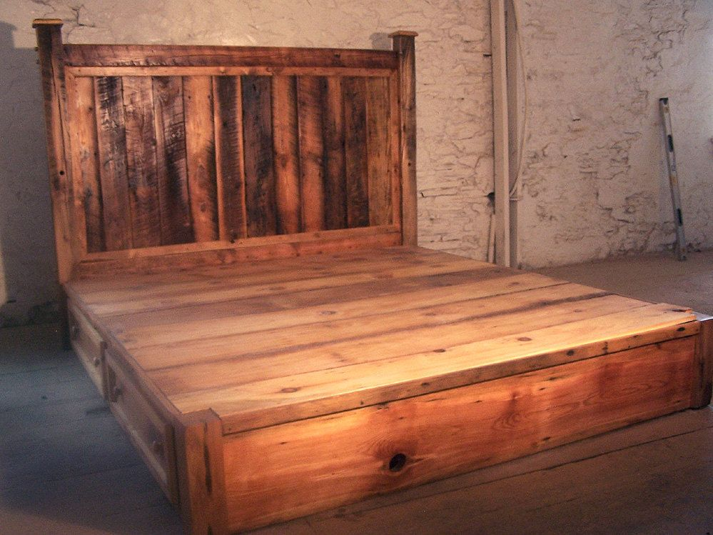 Reclaimed Rustic Pine Platform Bed with Headboard and 4 Drawers ...