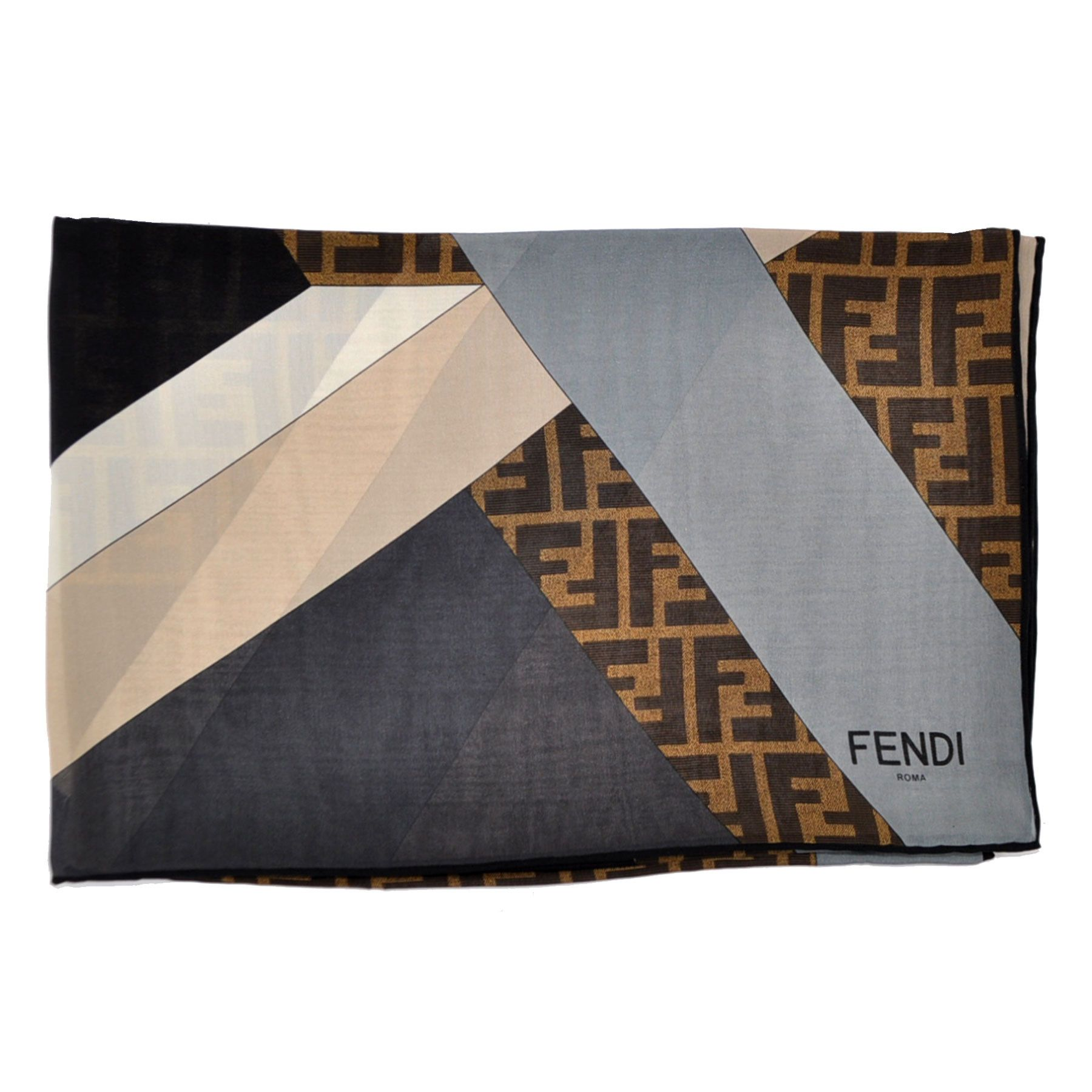 fe03b369a5e02 Fendi Silk Scarf Brown Gray FF Design from Como Milano | Women ...