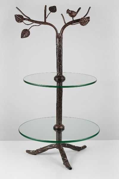 2 Tier Metal And Glass Bird And Tree Cake Stand Simply Beautiful