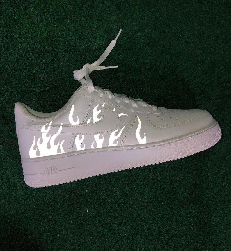 Reflective Flames White Nike Air Force 1 | Custom Air Force 1s One ...