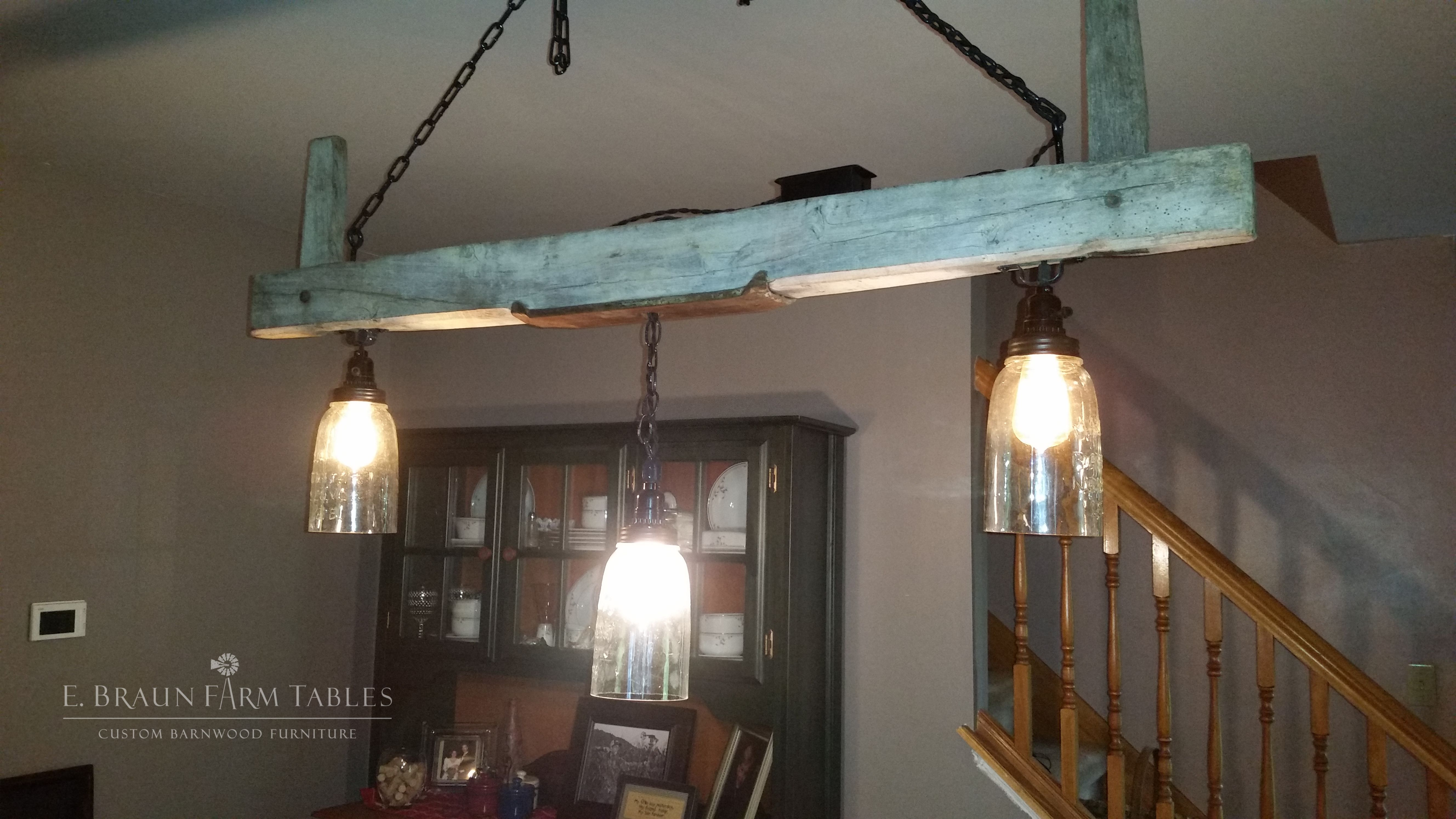 Barn Beam Hanging Lights Our Customers Are So Creative This Customer Purchased A Reclaimed Wood Beam From E Braun Farm In 2020 Barn Beams Farm Table Hanging Lights