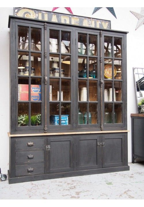Vitrine style pharmacie meubles pinterest pharmacie for Meuble mural vitrine