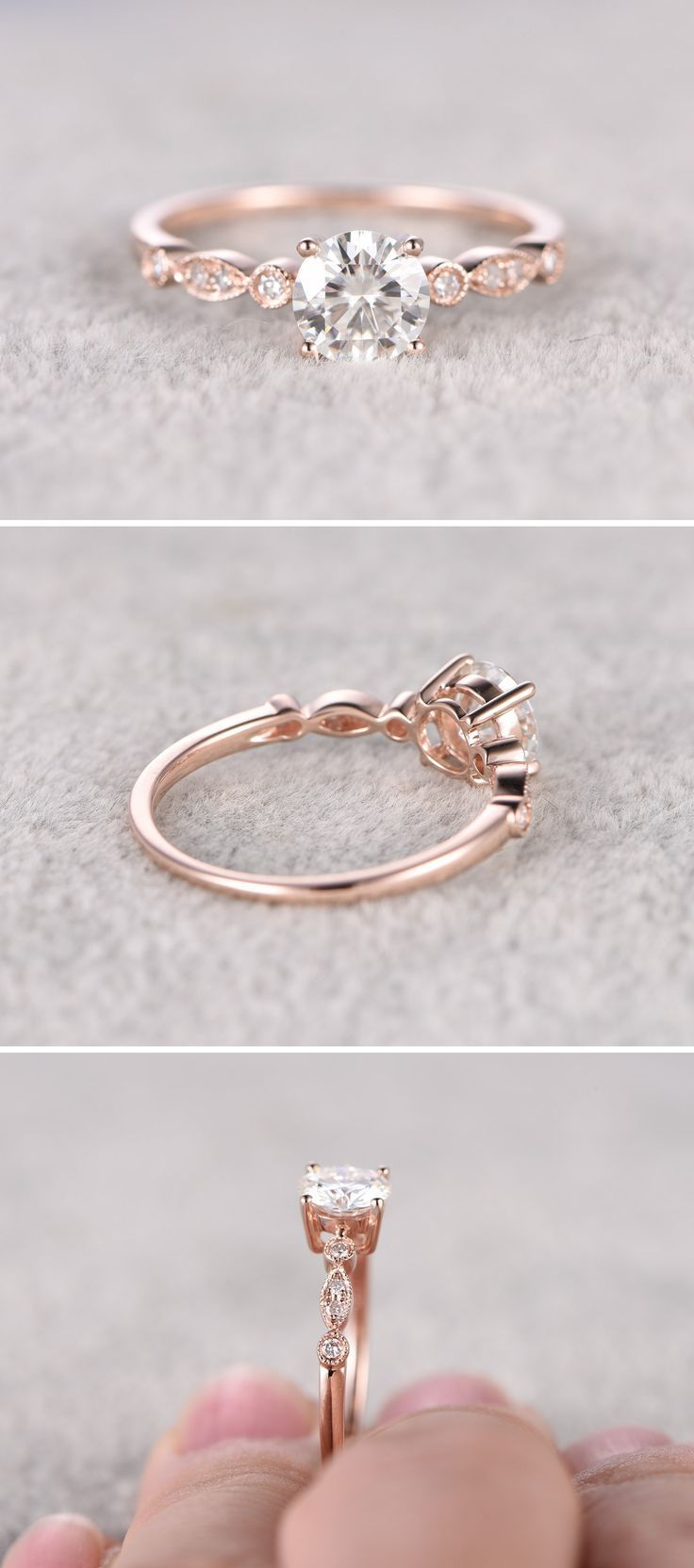 Awesome moissanite in rose gold engagement ring pinterest