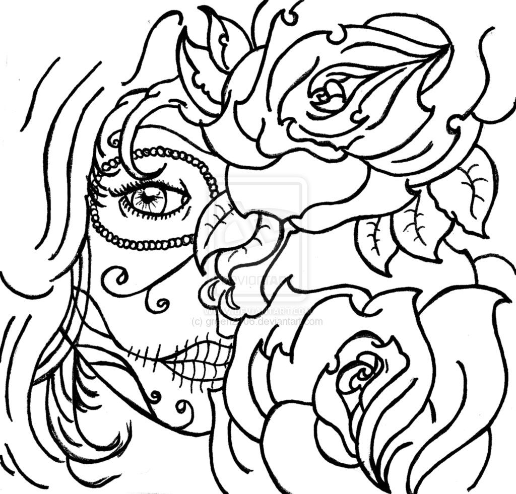 Coloring Page Skull Sugar Mexican Candy