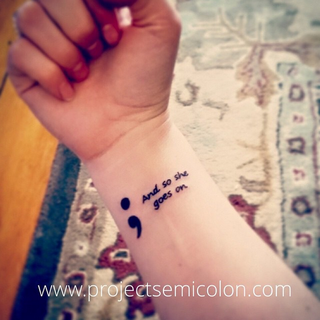 20 beautiful semicolon tattoos that raise awareness for mental 13 creative semicolon tattoos that prove punctuation can be beautiful altavistaventures Choice Image