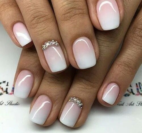 French Tips With Diamonds Design