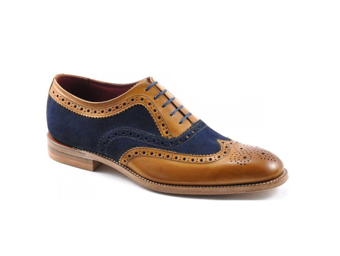 Mens Handmade Two Tone Tan Leather Suede Oxford Brogue Wing Tip Shoes for mens