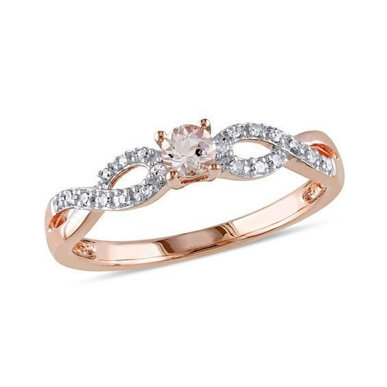 Zales Diamond Accent Rose Promise Ring in Sterling Silver with 14K Gold Plate yJ113Xsb