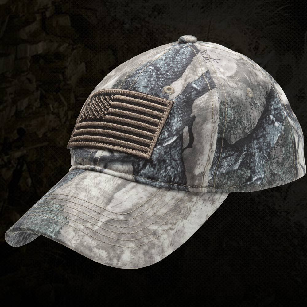 97adf488d6bc2 Full Kryptek Camouflage with tonal American flag in the front. Ultra low  profile shooters cap.