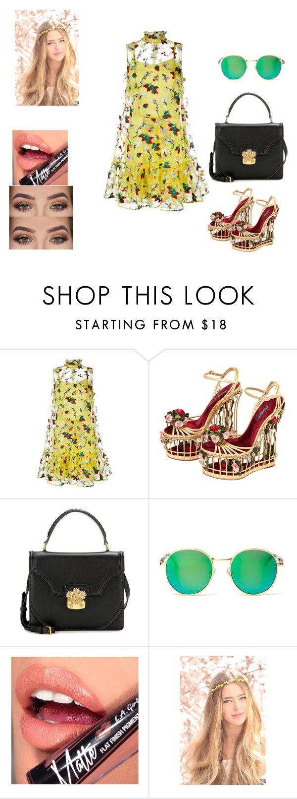 """""""flower"""" by tinhinane ❤ liked on Polyvore featuring Erdem, Dolce&Gabbana, Alexander McQueen, Wildfox, Anastasia Beverly Hills and Fiebiger"""