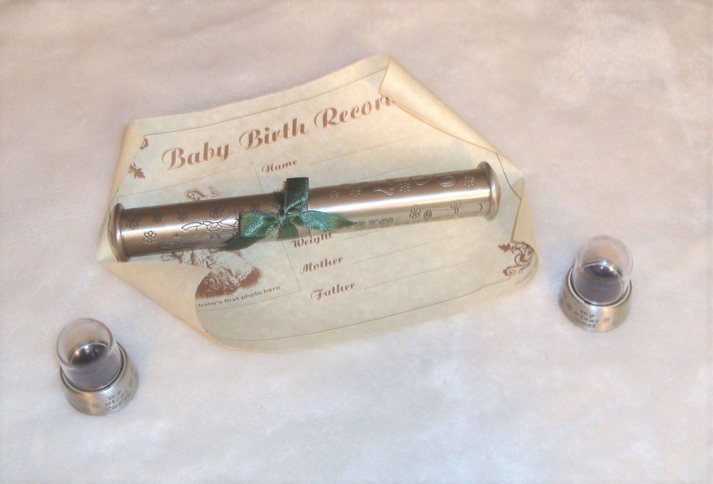 Baby\'s First Gifts Pewter Finish Birth Certificate Holder & First ...