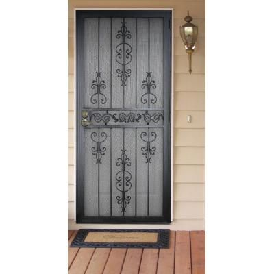 Unique Home Designs 36 In X 80 In El Dorado Black Surface Mount Outswing Steel Security Door With Heavy Duty Expanded Metal Screen 5hs620black36 Unique House Design Metal Screen Metal Screen Doors