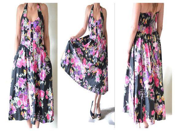 Vintage Garden Floral Halter Corset top Dress by LaGlamVintage, $45.00