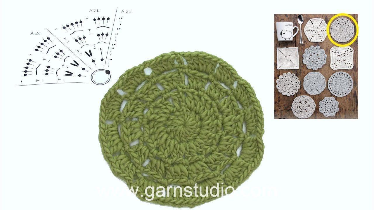 How to crochet coaster 2 in DROPS Extra 0-1403 - YouTube   casa ...
