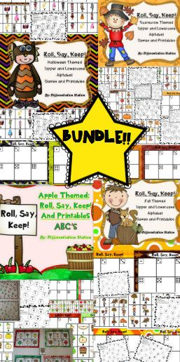 "BUNDLE!  Fall and winter themed centers, game and printables. ""Roll, Say, Keep"" games. Great for learning upper and lowercase letters, or work on beginning sounds $"