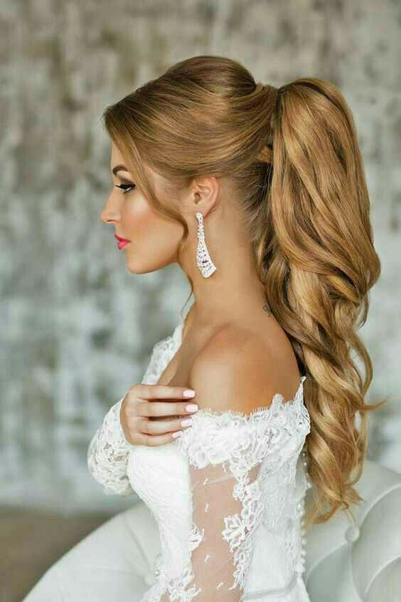 Image result for Glam Ponytail bridal hairstyles