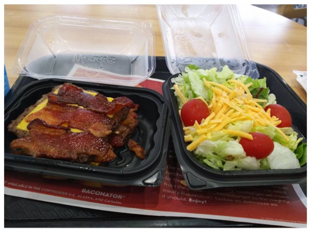 Wendy's bacon burger with no bun and a side salad