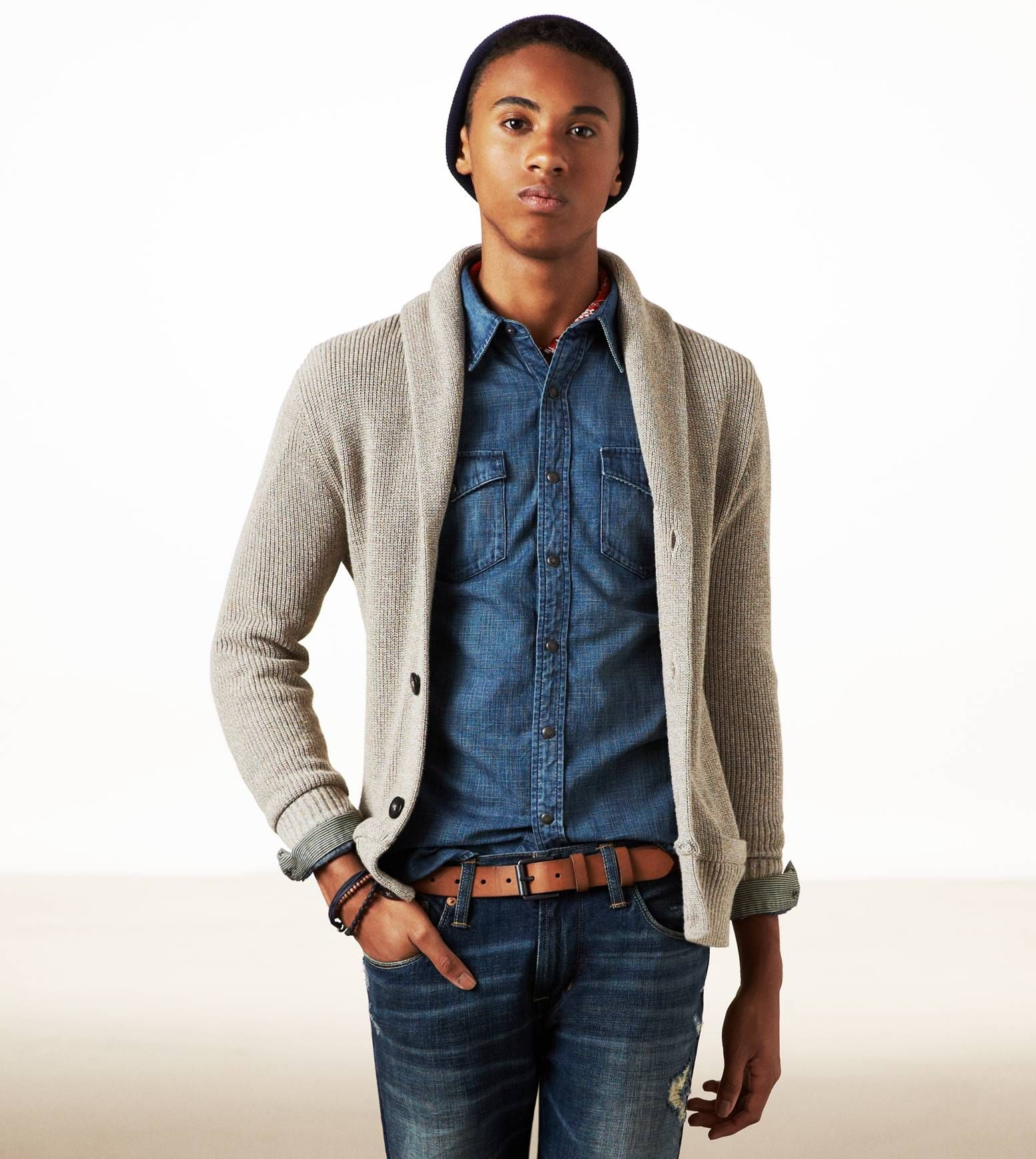 Oatmeal Sweater Over Denim Shirt Ae Mensstyle Fall Winter