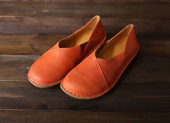 2 Colors! Handmade Flat Shoes for Women Casual Shoes Soft Shoes Slip Ons by HerHis