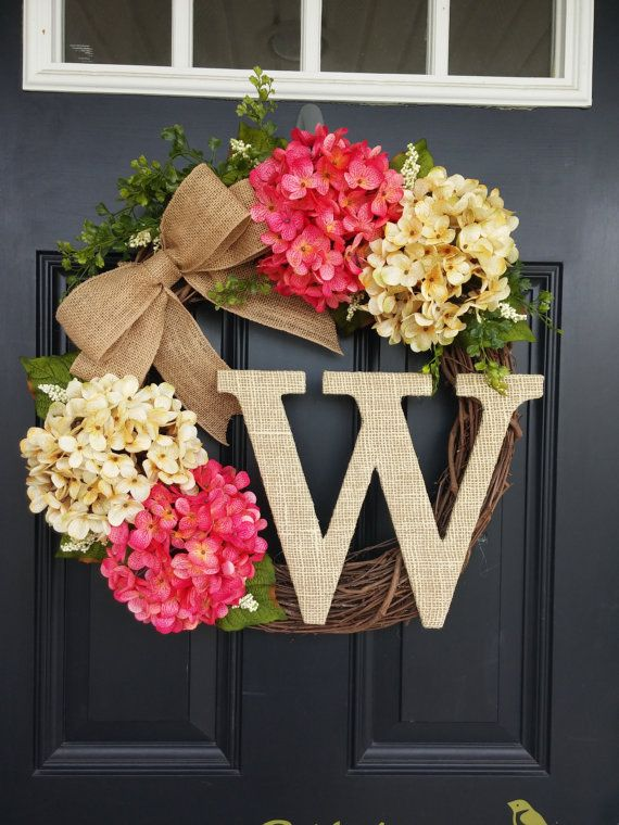 Summer wreath monogram wreath hydrangea wreath front for Diy summer wreath